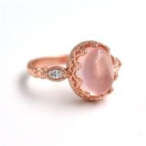 Aliexpress Com Buy Natural Pink Quartz Engagement Rings For
