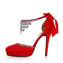 Fabulous 2014 Satin Rhinestones Strappy Red Wedding Shoes
