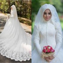 Muslim Wedding Dresses 2016 Latest Full Lace High Neck Long