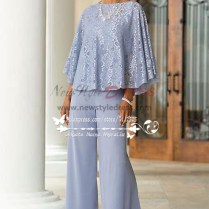 Of The Bride Pant Suits Blue Chiffon Outfit With Lace For Summer
