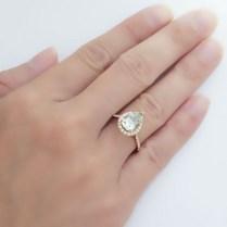 Quartz Prasiolite Engagement Ring Pear 10x7 Cut Diamond Halo