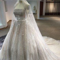 Real Photo Luxury Gorgeous Full Crystal Wedding Dress With Veil