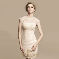 Short Ivory Lace Wedding Dress, Tea Length Wedding Dresses Cap