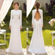 2014 Concise Elegant White Long Sleeve Sheath Wedding Dresses