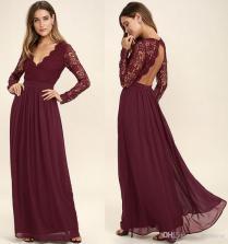 2018 Burgundy Lace Bodice Chiffon Skirt Burgundy Bridesmaid