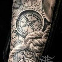 Compass And Nautical Rope Tattoo