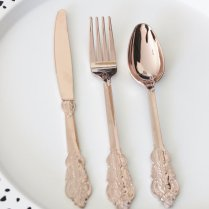70 Assorted Faux Copper Cutlery Tableware Rose Gold Vintage Style