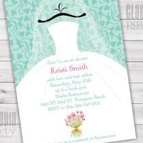 Wedding Dress Bridal Shower Invitations