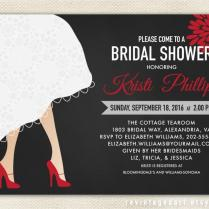Bridal Shower Invitation With Wedding Dress Hem & High Heel Shoes