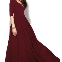 Burgundy Floor Length Evening Dress Marsala Dress Bridesmaid Maxi