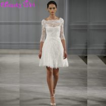 Charming A Line Ivory Lace Short Wedding Dresses Backless Knee