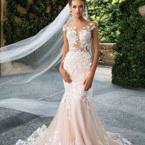 Blush Pink Mermaid Wedding Dress Lace Appliques Bridal Gowns Sexy