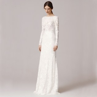 Fw1252 Vintage Lace Long Sleeves Sheath Wedding Dresses 2016with