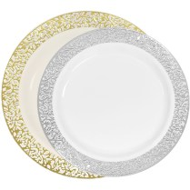 Luxury Lace Disposable Plastic Plates Ivory Gold And White Silver