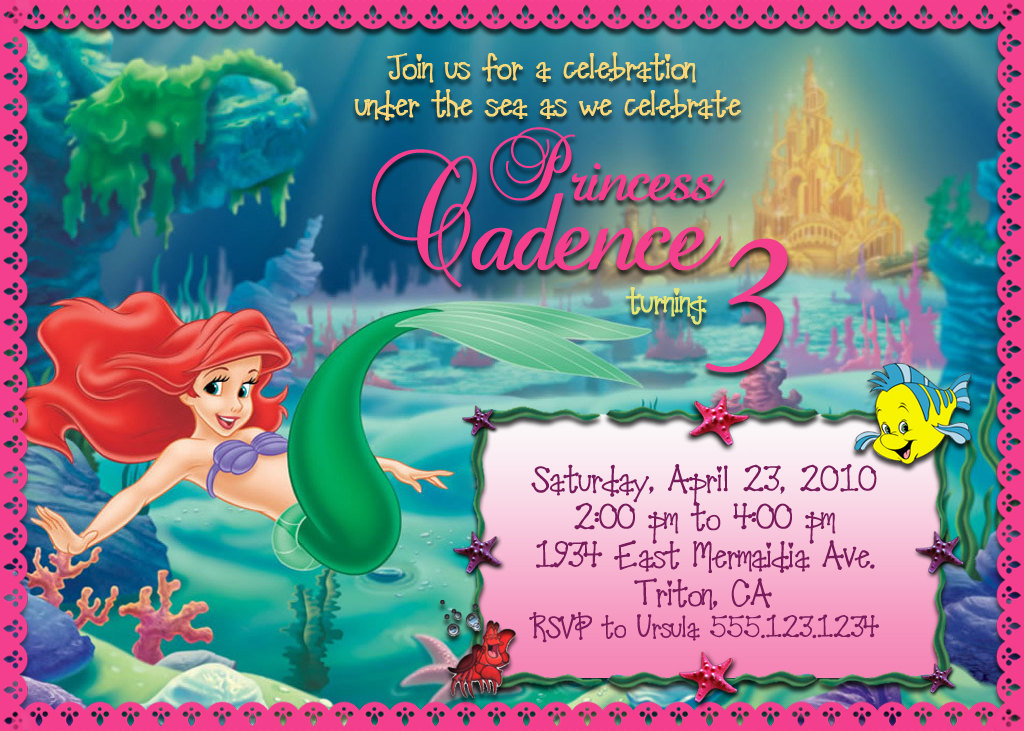 Custom Little Mermaid Birthday Invitations Personalized Invitation