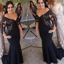 2018 Black Mermaid Mother Of The Bride Dresses For Wedding Party