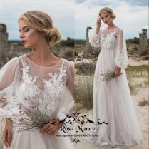 Discount Plus Size Boho Beach Country Wedding Dresses 2018 Puff