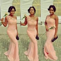 African Lace Bridesmaid Dresses 2015 One Shoulder Fall Winter