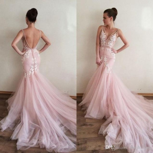 Sexy Blush Pink Mermaid Wedding Dresses V Neck Sleeveless Backless