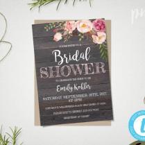 Rustic Floral Bridal Shower Invitation Template, Printable Rustic