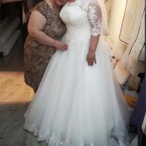 Discount Vintage Beaded Lace Plus Size Wedding Dresses With Half