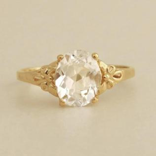 White Topaz Engagement Ring, Oval Engagement Ring, Vintage Style