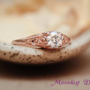 14k Rose Gold And Moissanite Dainty Filigree Engagement Ring