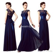 2015 Cheap Evening Dresses Navy Blue Lace Sheer Neck Sash A Line