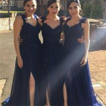 2016 Vintage Cheap Navy Blue Long Bridesmaid Dresses With