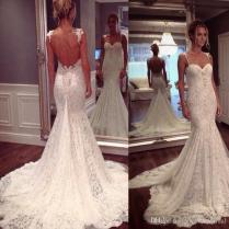 2017 Low Back Wedding Dresses Lace Spaghetti Straps Mermaid