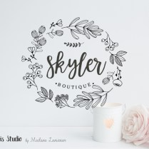 Hand Drawn Style Floral Boutique Logo Design – Boutique Logo