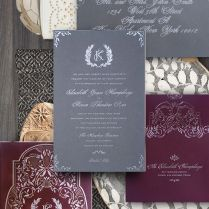 Picture Of A Rustic Burgundy, Grey And Silver Wedding Invitation