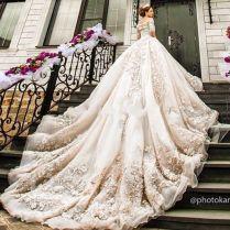 Luxury Cathedral Royal Train Muslim Wedding Dress Vintage Lace
