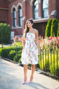 Floral Strapless Dress, Little White Dress, Wedding Guest Outfit
