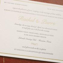 Classic Letterpress And Foil Wedding Invitations In French And