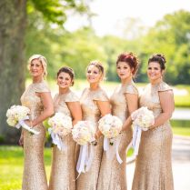 Gold Bridesmaids Dresses, Vintage Glam Wedding Theme Bridesmaids