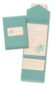 Seaside Duet Pocket Wedding Invitation