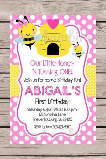 Printable Pink Bumble Bee Birthday Party Invitation Personalized