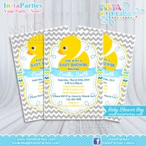 Baby Shower Invitations Boy Rubber Ducky Yellow Welcome Party Blue
