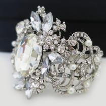 Bridal Cuff Bracelet, Wedding Bracelet, Crystal Pearl Cuff, Bridal