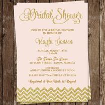 Bridal Shower Invitations, Pink, Gold, Glitter, Wedding, Chevron
