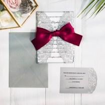 Burgundy And Gray Laser Cut Wedding Invitations Swws043
