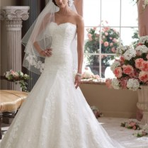 Classy Mermaid Trumpet Strapless Lace Wedding Dress With Chapel Train