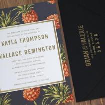 Destination Wedding Invitation, Black, Yellow, Pineapple, Vintage