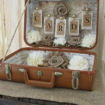 Card Box Vintage Suitcase Wedding Card Holder Shabby Chic, Vintage