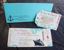 Turquoise & Red Swirls & Ship Antique Cruise Ticket Wedding