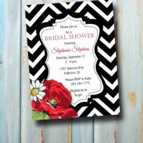 Personalized Black And White Chevron Bridal Shower Invitation Wit