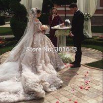 Luxury Cathedral Royal Train Muslim Wedding Dress 2017 Vintage