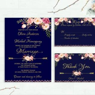 Navy Wedding Invitation Printable Wedding Invitation Floral Invite