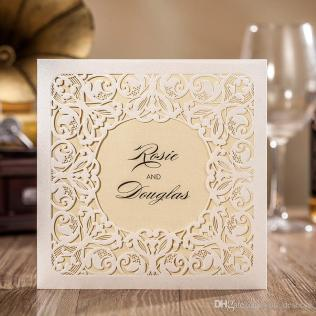 New 2017 Wedding Invitations Cards Very Beautiful White Lace Laser